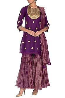 Purple Embroidered Gharara Set by Kunza