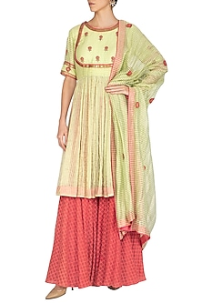 Lime Green Embroidered Anarkali Set by Kunza