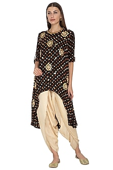 Black Embroidered Asymmetric Tunic With Gold Dhoti Pants by Kunza