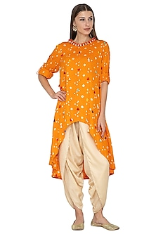 Mango Yellow Embroidered Asymmetric Tunic With Gold Dhoti Pants by Kunza