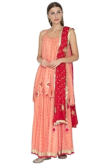 Coral & Red Embroidered Printed Kurta Set by Kunza