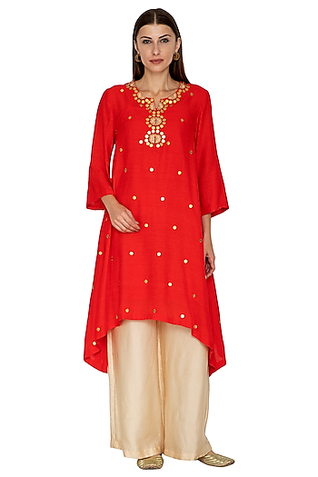 Red Embroidered Dip-Hem Kurta With Beige Gold Pants by Kunza