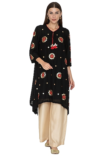 Black Embroidered Dip-Hem Kurta With Beige Gold Pants by Kunza