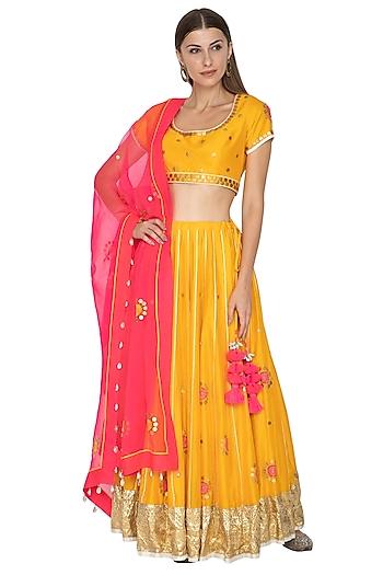 Mango Yellow & Pink Embroidered Lehenga Set by Kunza