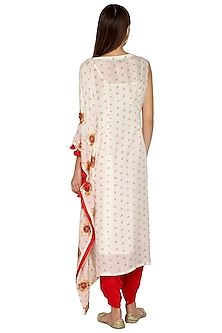 Ivory Embroidered Kurta With Red Dhoti Pants by Kunza