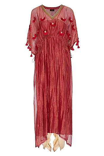 Pink Embroidered Kaftan With Golden Dhoti Pants by Kunza
