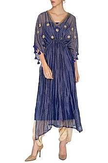 Blue Embroidered Kaftan With Golden Dhoti Pants by Kunza