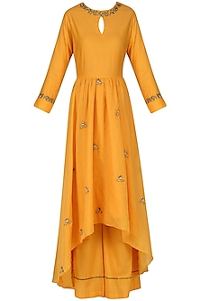 Burnt Orange Embroidered Anarkali and Palazzo Pants Set by Kazmi India