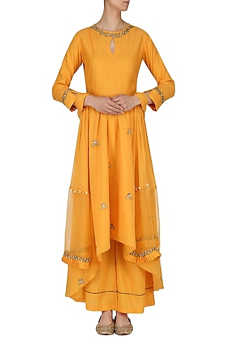 Burnt Orange Embroidered Anarkali and Palazzo Pants Set by Kazmi India