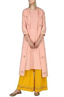 Blush Pink Embroidered Kurta and Palazzo Pants Set by Kazmi India
