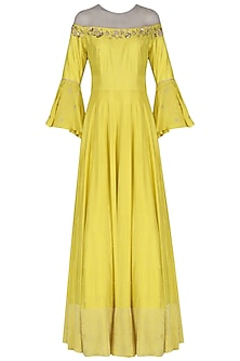 Yellow Embroidered Anarkali  by Kazmi India