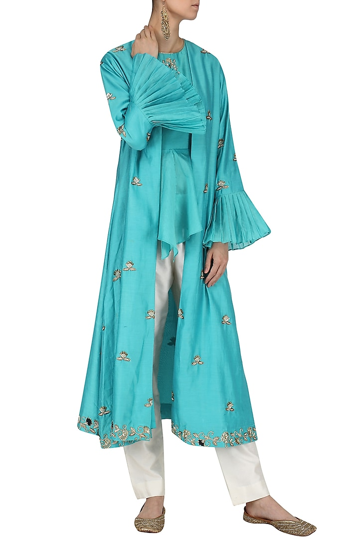 Blue Embroidered Overlayer Peplum Top with Pants and Cape Set by Kazmi India