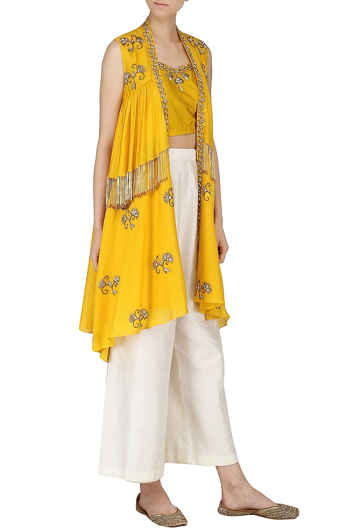Turmeric Yellow Embroidered Bustier with Cape and Palazzo Pants Set by Kazmi India