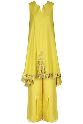 Yellow Embroidered Tunic with Pants by Kazmi India