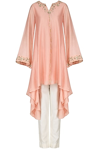 Blush Pink Embroidered Tunic with Palazzo Pants by Kazmi India