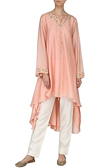 Blush Pink Embroidered Tunic with Palazzo Pants by Kazmi India