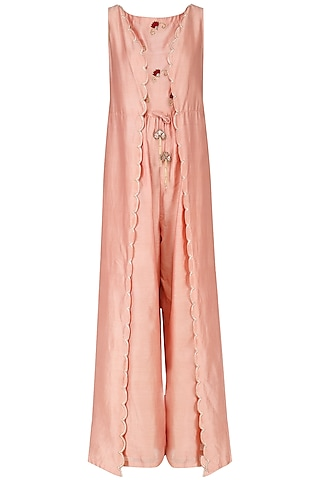 Blush Pink Embroidered Jumpsuit by Kazmi India