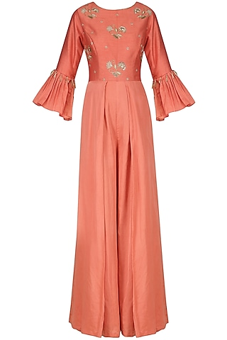 Carrot Red Embroidered Jumpsuit by Kazmi India