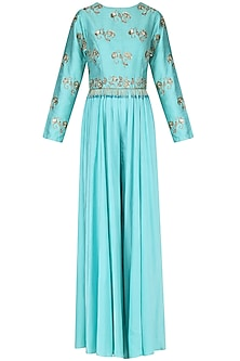 Ice Blue Embroidered Jumpsuit by Kazmi India