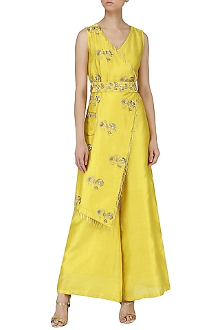 Yellow Embroidered Overlapping Jumpsuit by Kazmi India