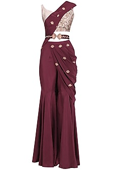 Oxblood Embroidered Pre Stitched Sharara Saree with Belt by Kazmi India