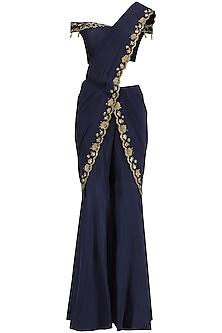 Blue Embroidered Pre Stitched Sharara Saree by Kazmi India