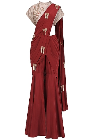 Red and Gold Embroidered Pre Stitched Sharara Saree by Kazmi India
