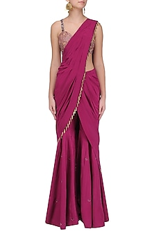 Maroon and Gold Embroidered Pre Stitched Sharara Saree by Kazmi India