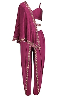 Maroon Embroidered Dhoti and Bustier with One-Shoulder Cape by Kazmi India