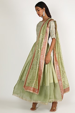 Mint Green Embroidered Anarkali Set by LACHESIS