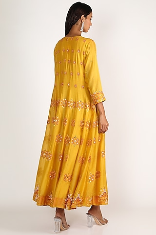Yellow Embroidered Anarkali Set by LACHESIS