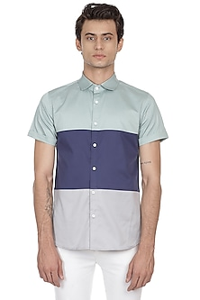 Multi Colored Half Sleeves Shirt by LACQUER Embassy