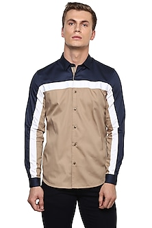 Beige Color Blocked Shirt by LACQUER Embassy