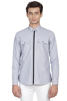 Blue Striped Shirt by LACQUER Embassy
