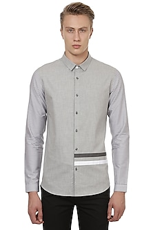 Grey Striped Shirt by LACQUER Embassy