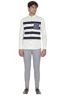 Ecru & Navy Blue Striped Shirt by LACQUER Embassy