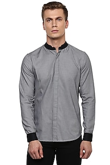 Grey Chinese Collared Shirt by LACQUER Embassy