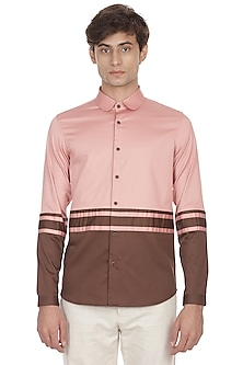 Pink & Brown Color Blocked Shirt by LACQUER Embassy