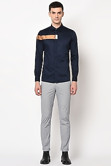 Navy Blue Concealed Placket Shirt by LACQUER Embassy