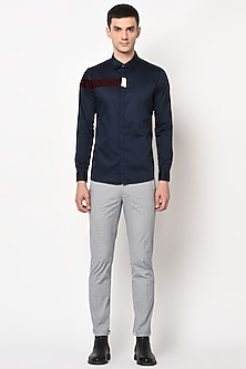 Navy Blue Shirt With Cut & Sew Detailing by LACQUER Embassy