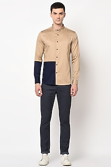Brown Shirt With Button-Down Shirt by LACQUER Embassy