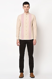 Beige Striped Panel Shirt by LACQUER Embassy