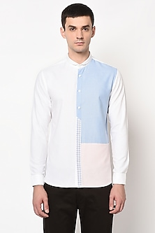 White Shirt With Color Blocked Checks by LACQUER Embassy
