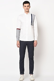 White Shirt With Front Side Panels by LACQUER Embassy