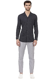 Blue Cotton Striped Shirt by LACQUER Embassy