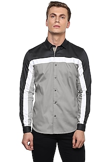 Grey Color Blocked Cotton Shirt by LACQUER Embassy