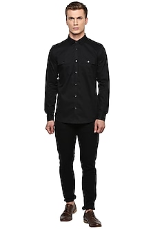 Black Cotton Safari Shirt by LACQUER Embassy