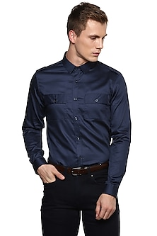 Black Safari Shirt With Pockets by LACQUER Embassy