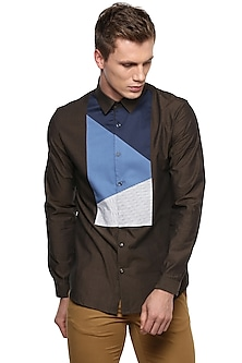 Dark Brown Striped Shirt by LACQUER Embassy