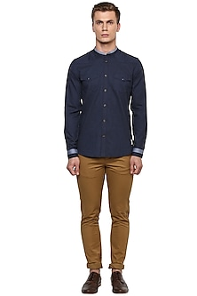 Blue Relaxed Shirt With Vintage Buttons by LACQUER Embassy